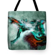 Surrealist And Abstract Painting In Orange And Turquoise Color Tote Bag