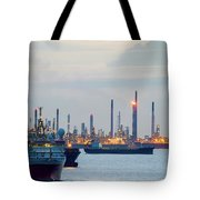 Survey And Cargo Ships Off The Coast Of Singapore Petroleum Refi Tote Bag