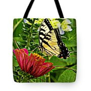 Swallowtail On A Zennia Tote Bag