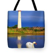 Swan At The Lighthouse Tote Bag