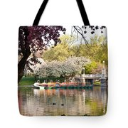 Swan Boats With Apple Blossoms Tote Bag by Susan Cole Kelly