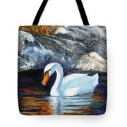 Swan By Rocks Tote Bag