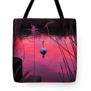 Swan In A Sunset Tote Bag