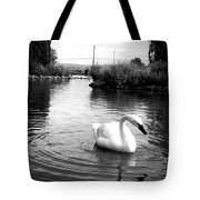 Swan In Black And White Tote Bag