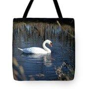 Swan In Blue Pond Tote Bag