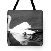 Swan In Motion On A Pond Tote Bag