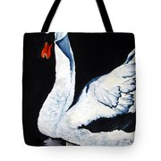 Swan In Shadows Tote Bag