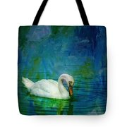 Swan On A Blue And Green Lake Tote Bag