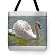 Swan Swimming By Tote Bag