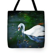Swan With Twig Tote Bag