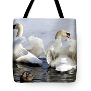 Swans And Duck Tote Bag