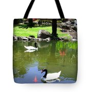 Swans And Gold Fish Tote Bag