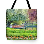 Swans And Tulips 1 Tote Bag