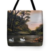 Swans At Dusk.for Sale Tote Bag by Cynthia Adams