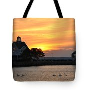 Swans At Sunrise  Tote Bag
