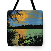 Swans At Sunset Tote Bag