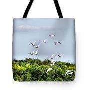 Swans In Flight Tote Bag