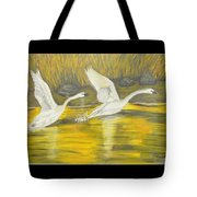 Swans In The Fall In Montana Tote Bag