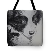 Sweet Girl Border Collie Puppy Tote Bag