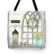 Sweet Life Farmhouse 3 Gothic Window Lantern Floral Shiplap Wood Tote Bag