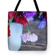 Sweet Pea And Corn Flowers Tote Bag