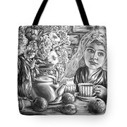 Sweet Tea And Sweet Dreams Black And White Tote Bag