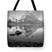 Swift Current Lake Reflection Black And White  Tote Bag