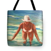 Swimmer In Blue Tote Bag