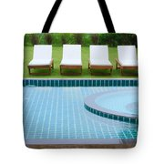 Swimming Pool And Chairs Tote Bag by Atiketta Sangasaeng