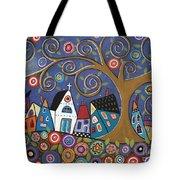 Swirl Tree Village Tote Bag