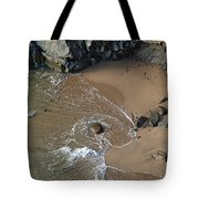 Swirling Surf And Rocks Tote Bag by Charlene Mitchell