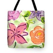 Swirly Flowers Tote Bag