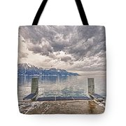 Switzerland, Montreux, Dock On The Lake. Tote Bag
