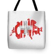 Switzerland Typographic Map Flag Tote Bag