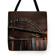 Sydney Harbor At Night With Train Tote Bag