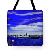 Sydney Harbour And Flying Flag Tote Bag