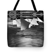 Sydney Opera House Reflection In Monochrome Tote Bag