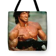 Sylvester Stallone And Browning Machine Gun Rambo 1985 Tote Bag