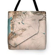 Syria Country 3d Render Topographic Map Neutral Border Tote Bag