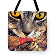 Tabby Cat Licking Paw Tote Bag