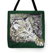 Tabby Cat With Cricket Trinket Box Tote Bag