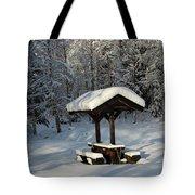 Table By Cross Country Ski Tracks Tote Bag