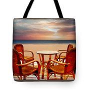 Table For Four At The Beach At Sunset Tote Bag