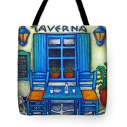 Table For Two In Greece Tote Bag by Lisa  Lorenz