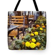 Tables And Chairs With Flowers Tote Bag