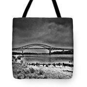 Tacony Palmyra Bridge In B And W Tote Bag