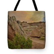 Tail End Of Storm At Sunset Over Bentonite Site Tote Bag