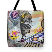 Taino Mask And Symbols Tote Bag