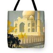 Taj Mahal Visit India Vintage Travel Poster Restored Tote Bag