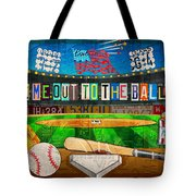 Take Me Out To The Ballgame Recycled Vintage License Plate Art Collage Tote Bag